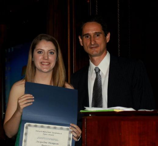 Jackie Thompson receiving award
