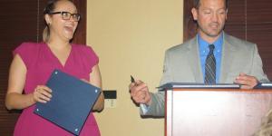 Klimkina receiving award
